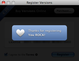 Register Versions: Thanks for registering. You ROCK!